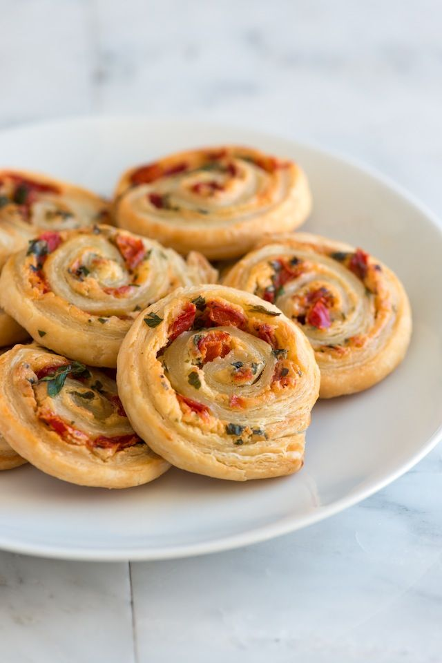 Cheesy Roasted Pepper Pastry Pinwheel Recipe from Inspired Taste #recipe #appetizer