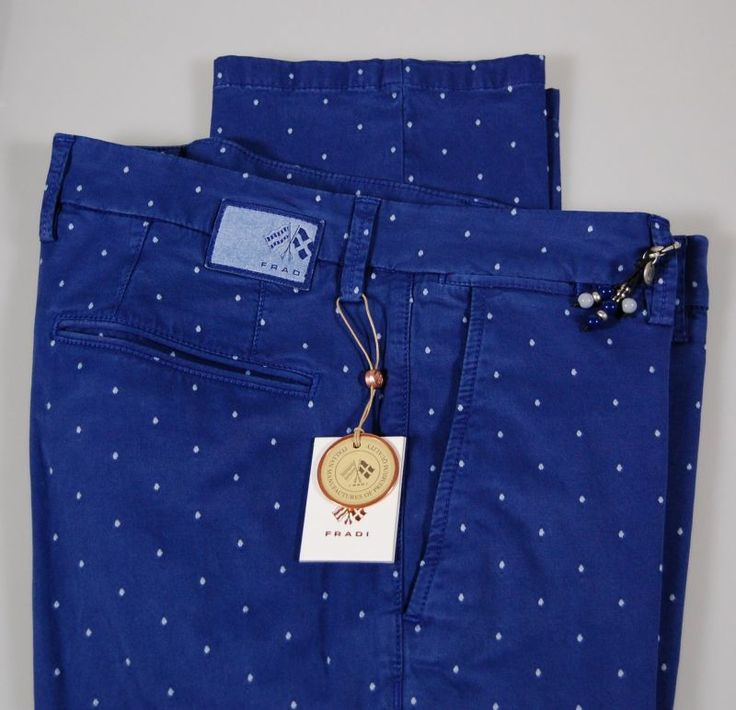 Polka dot slim fit stretch cotton pants fradi in two colors Made in Italy
