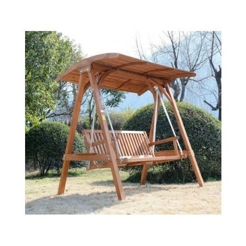 garden swing chair wooden larch outdoor furniture hammock three seat canopy wood