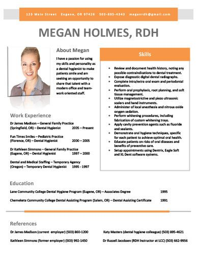 sle dental hygiene resume for a recent graduate