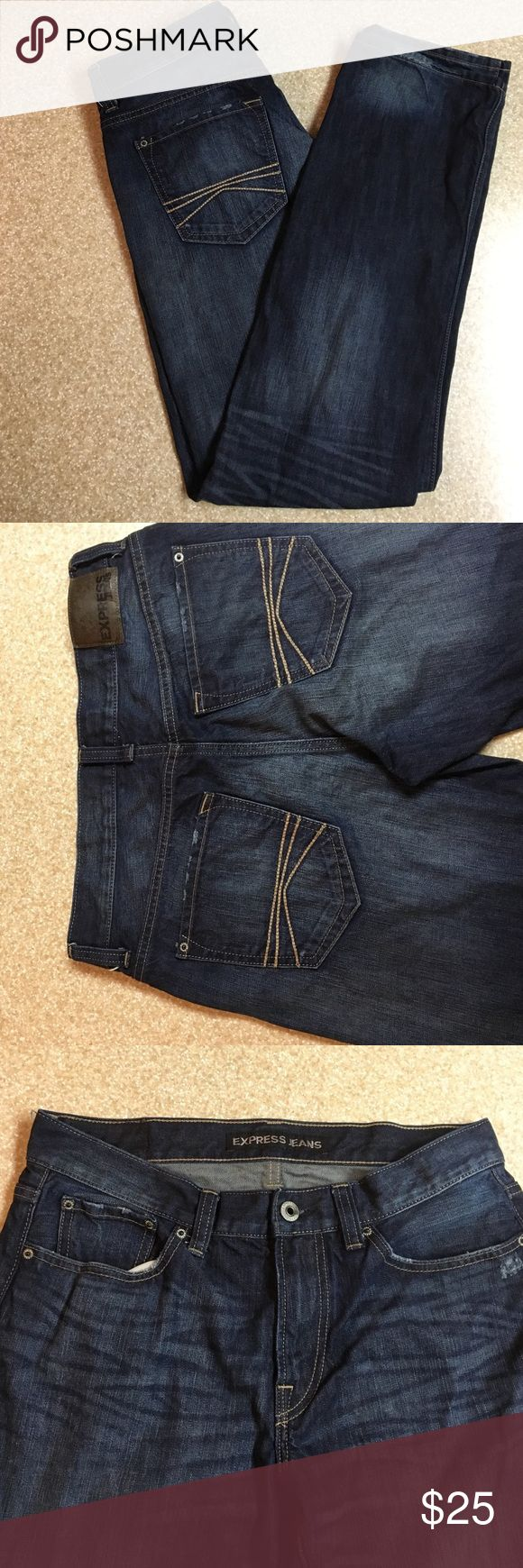Express Men's jeans size 32x34 These are a pair of men's express jeans in the size 32x34 they are the style Blake loose fit straight leg. They have no visible wear and tear. Worn only a few times. The style is a dark wash with decorative distressing along the jeans Express Jeans Straight