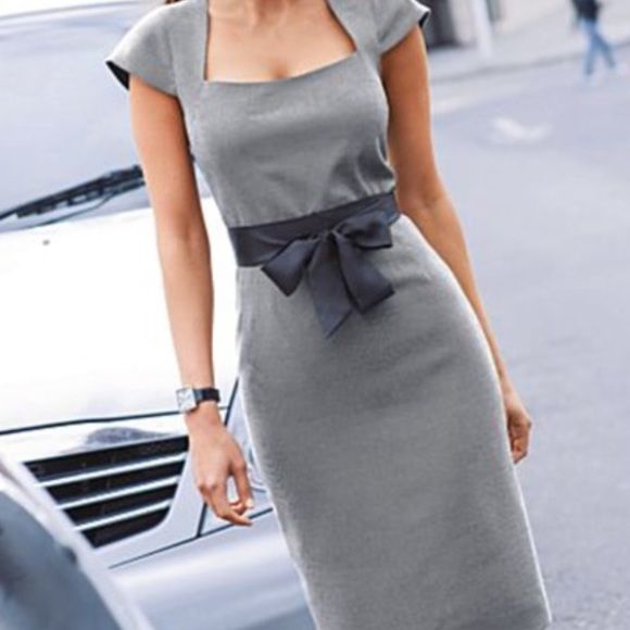 Sexy Venus Grey Tie Waist Dress Brand New! Bought online so does not have tags..Looking for a size 4 if anyone has it for sale:) Adorable cap sleeve career dress! Comes with black satin belt... Great for a career dress with a sexy element added:) Venus Dresses
