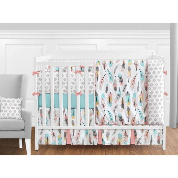Sweet Jojo Designs Feather Collection 9-piece Crib Bedding Set | Overstock.com Shopping - The Best Deals on Bedding Sets