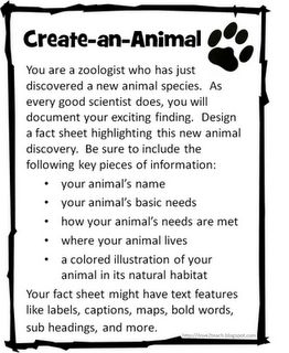 create an animal and create a plant - perfect for animal adaptations and habitats/ecosystems