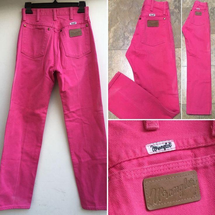 vintage wrangler jeans high waist hot pink made in usa sz 5 26 waist ebay high waist jeans. Black Bedroom Furniture Sets. Home Design Ideas