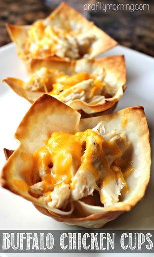 Buffalo Chicken Wonton Cups Recipe #Party Appetizer #Wonton Wrappers Recipe #Finger food   CraftyMorning.com