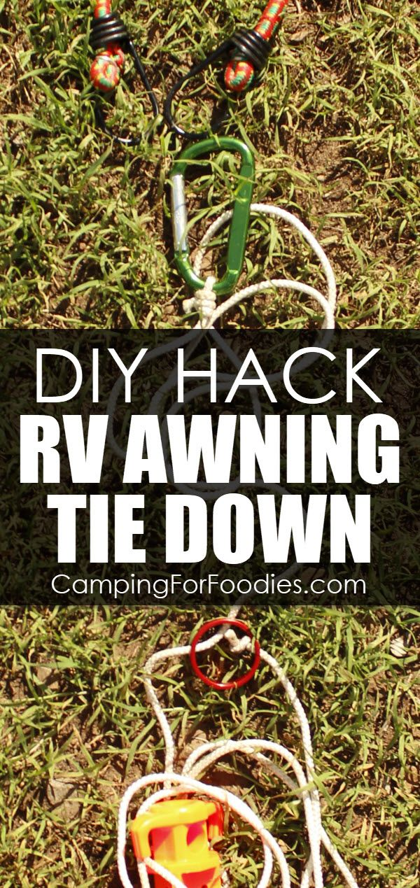 Diy Hack Rv Awning Tie Down How To Tie Down An Awning With 5 Simple Supplies By Campingforfoodies How To Keep Camping Trailer Diy Camping Hacks Diy Diy Awning