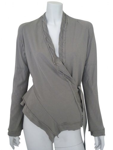 Designer: Delphine Wilson    Item: Cardigan    Composition: 100% Cotton    Made in Italy    Description:    Asymmetric V-necked jacket in ecofriendly cotton jersey with tie to fasten on the side, inlay seams and flounces      > Need Help?    Price $191.00