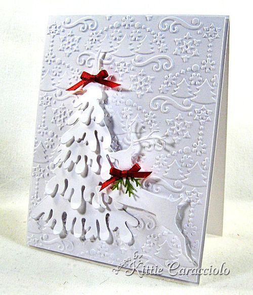 White on White Snow Covered Tree and Leaping Deer - KittieKraft