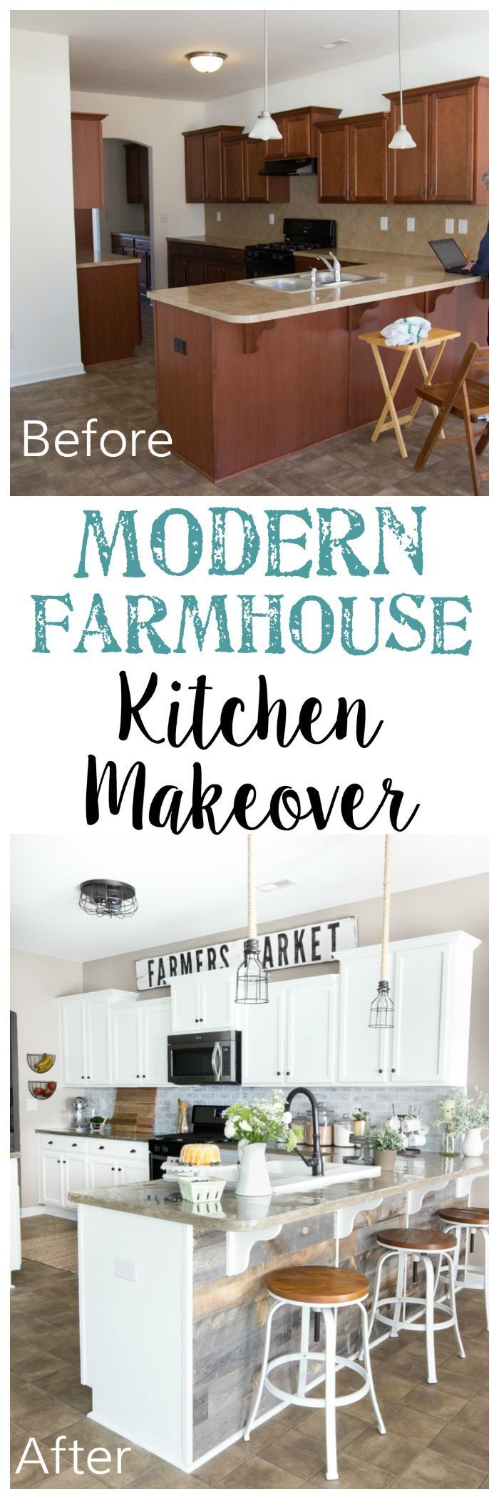 Modern Farmhouse Kitchen Makeover Reveal | http://blesserhouse.com - So many budget-friendly DIY projects packed into one kitchen! - Popular Pins
