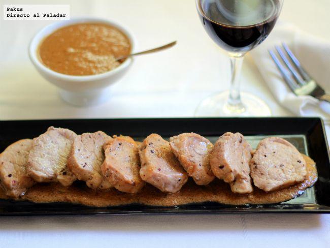 Solomillo de cerdo con salsa de foie. Receta de aprovechamiento con fotos paso a paso de preparación y presentación. Trucos y consejos. Receta de carne