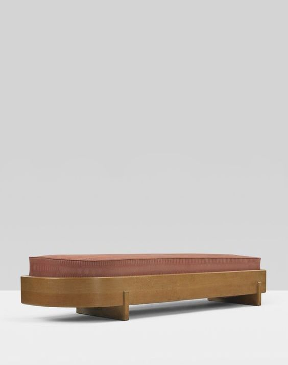 Frank Lloyd Wright; Stained Oak Bench from Wingspread, c1938.