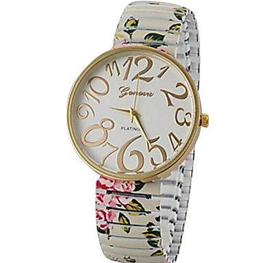 damesmode stijl eenvoudig kies het elastische bloem band kwarts armband horloges - EUR € 8.81
