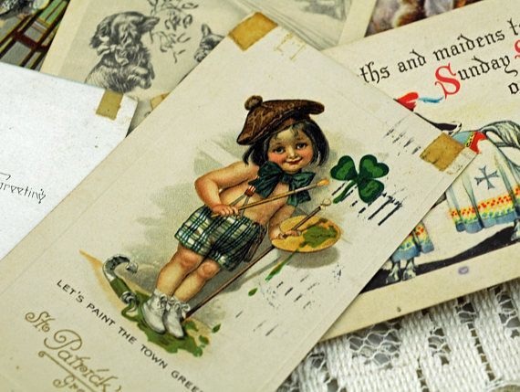 Ten Antique Post Cards and Trade Cards for Crafting, Scrapbooking, Cardmaking, And More #292A