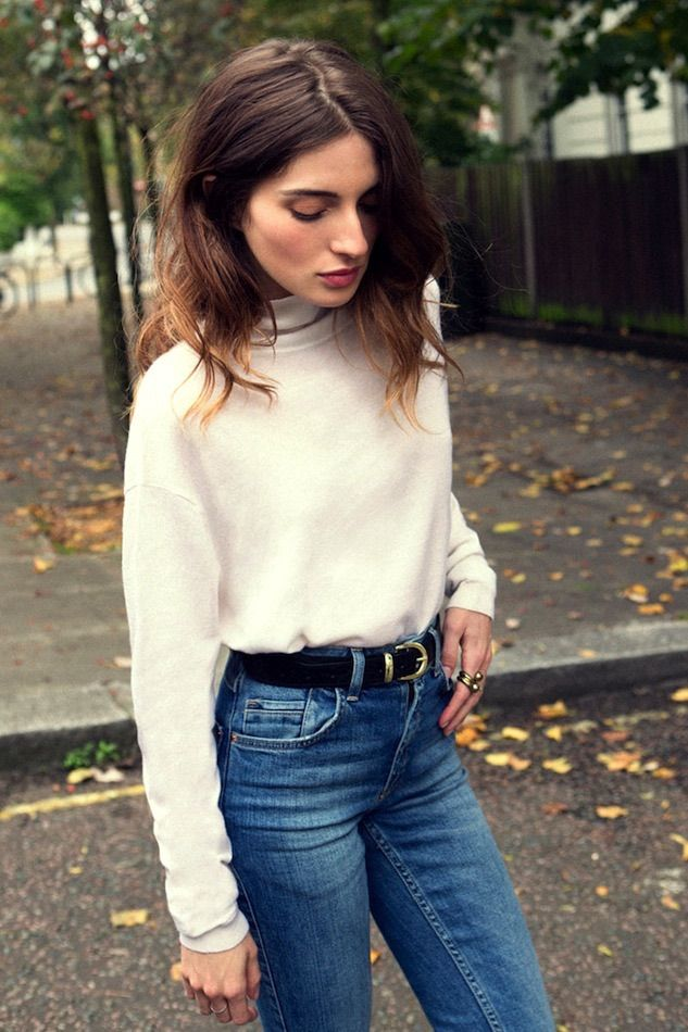 high waisted jeans and a cozy sweater