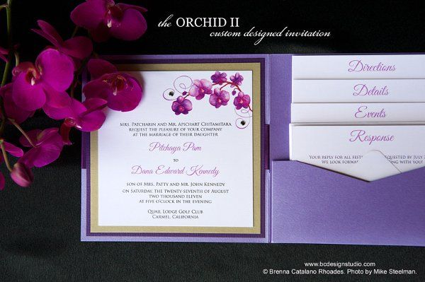 purple wedding orchids | Purple Orchid Wedding Invitation with original painted purple ...