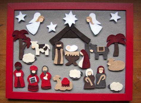 Nativity felt advent calendar. I want to make this...I love an advent calendar focused on Christ.
