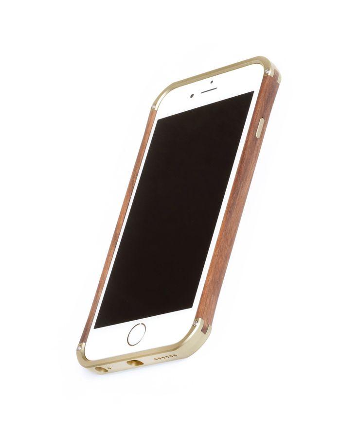 "Hand finished Wood & Aluminum iPhone case ""Frozen Gold & Walnut"" combination :)"