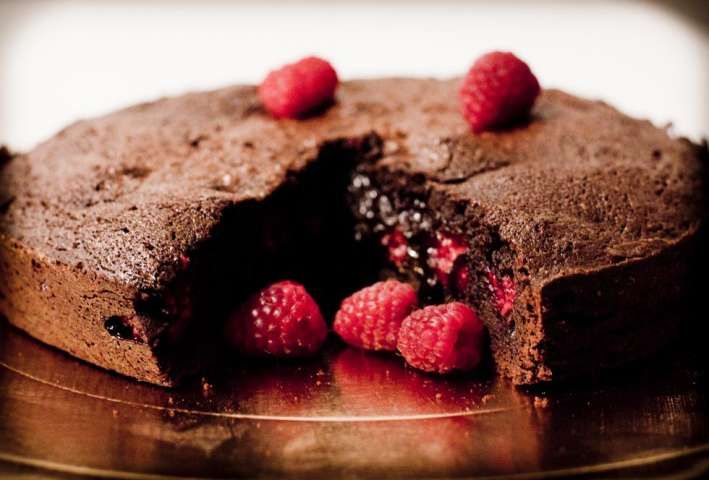 Cake with chocolate and raspberry  Milano Italy