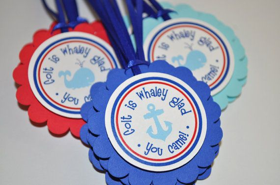 Nautical Birthday Favor Tags - Whale and Anchor Birthday Decorations - Boys 1st Birthday on Etsy, $10.00
