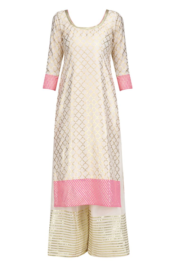 Ivory foil print anarkali kurta with pink sequinned dupatta and pants available only at Pernia's Pop Up Shop.