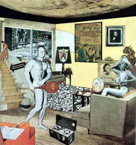 """Richard Hamilton, """"Qu'est-ce qui rend nos foyers d'aujourd'hui si différents, si attirants ?"""", 1956 collage photographique, 26x25cm"""