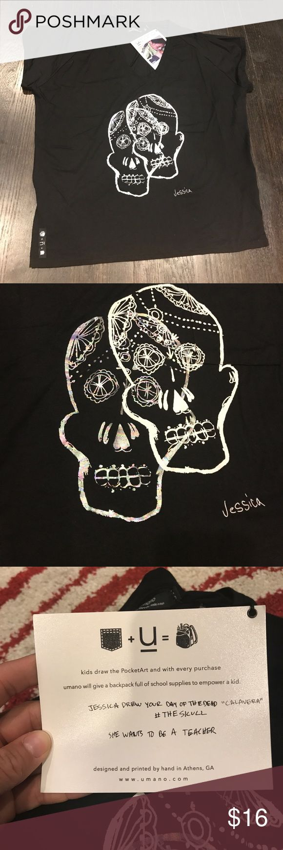 Umano Calavera Skull T shirt Brand new with tags really awesome skull t shirt. One skull is white and another is silver holographic. Drawn by a child and every t shirt sold gives a backpack to a child who needs it. Explanation of program on tag photo.  Fits loose. umano Tops Tees - Short Sleeve