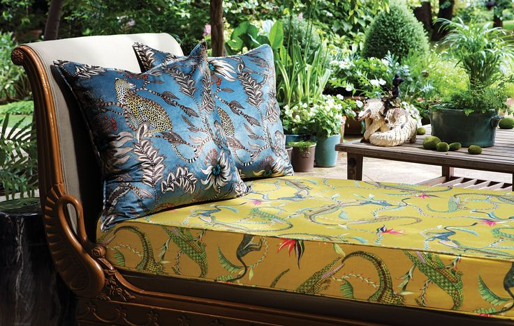 Antique chaise with River Chase Swamp seat and velvet Monkey Bean Ash cushions