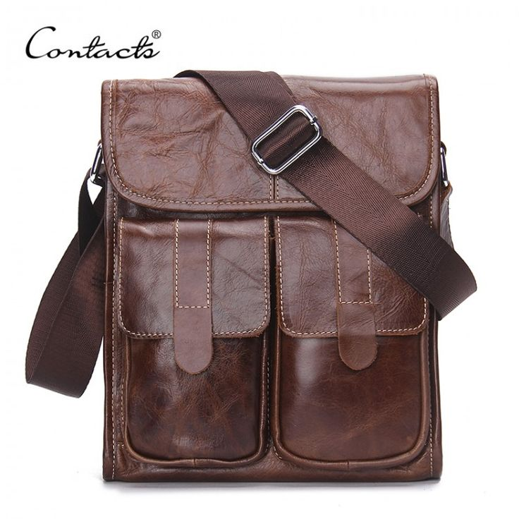 CONTACT'S Genuine Leather Men bags Fashion Brand Designer Handbags Shoulder Vintage Retro Cow Bags Men Messenger Bags BriefcaseLeather Bags