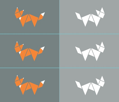 Tangram two sided fox cushion fabric by little_fish on Spoonflower - custom fabric