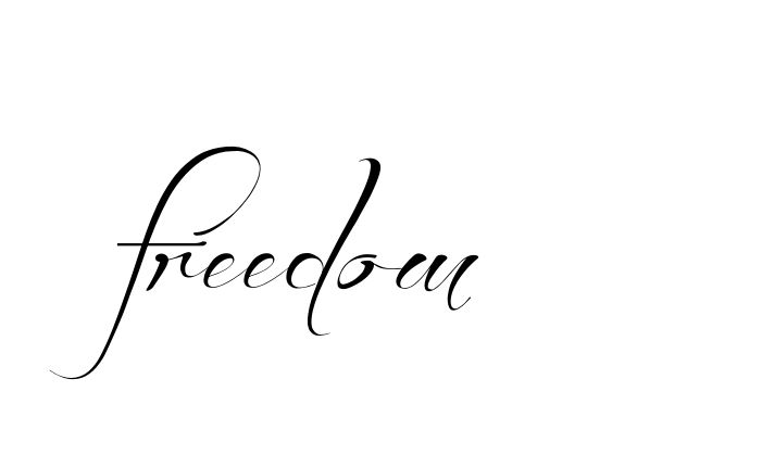 Tatuagem do nome freedom  utilizando o estilo Before the Rain Regular