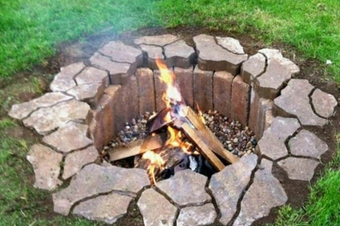 Flat Rock and brick fire pit.