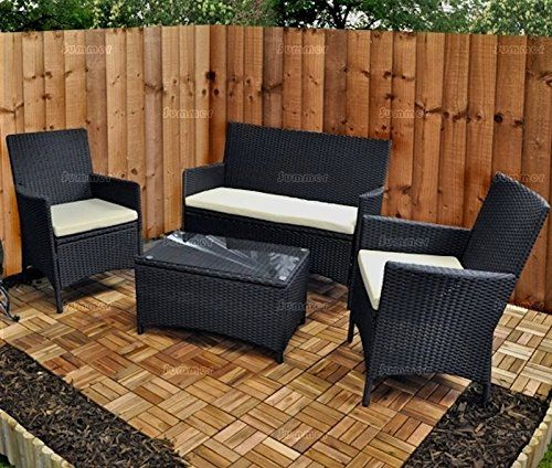 4 Seater Outdoor Garden Furniture Rattan Suite - Chairs, Bench, Table - Cream  Price Β£239