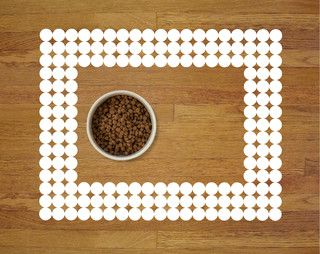 Polka-dot Pet Food Mat, White - modern - pet bowls and feeding - by Sniff It Out Pet Mats