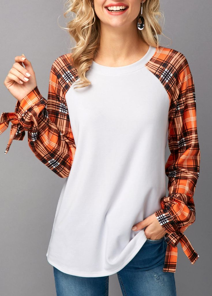 Plaid Print Tie Sleeve White T Shirt on sale only US$30.64 now, buy cheap Plaid Print Tie Sleeve White T Shirt at liligal.com