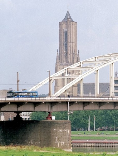 Holland - City of Arnhem, John Frost bridge across the Rhine.