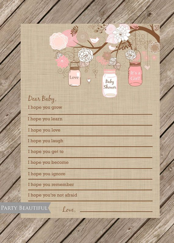 Dear Baby Well Wishes for Baby Girl INSTANT DOWNLOAD-Pink, Linen, Mason Jars, Rustic, Printable File