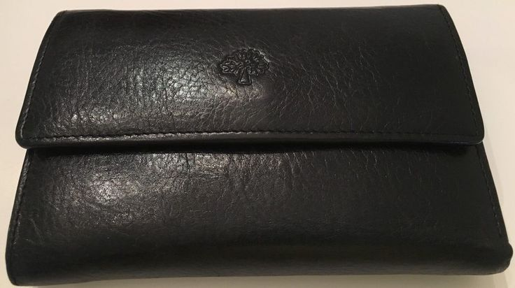 Mulberry Wallet Clutch Trifold Luxury Tumbled Black Leather ID Card Slip 6 X 4 #Mulberry #Bifold