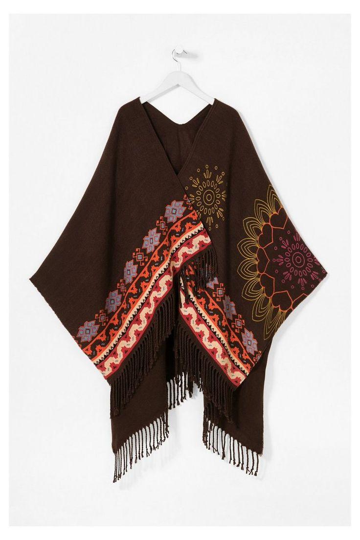 Zwarte poncho met franjes - Dakota   Desigual.com