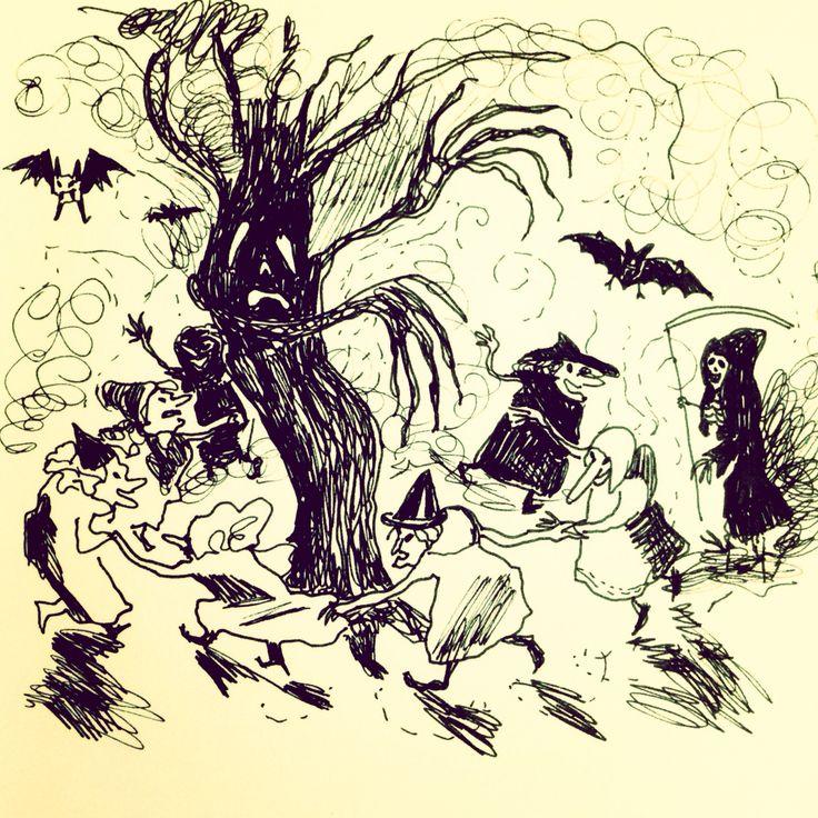 Witches by Marie Åhfeldt - Mås Illustra. #halloween #inktober #illustration