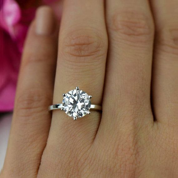 3 ct Classic Solitaire Engagement Ring, Man Made Diamond Simulant, 6 Prong Wedding Ring, Bridal Ring, Promise Ring, Sterling Silver