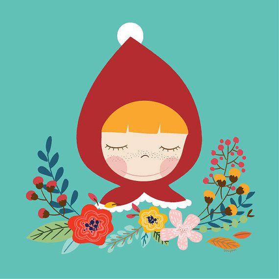 linda chica Caperucita Roja ilustraciones, poca ilustración/niños/pared sala de decoración/arte niña imprimir ilustraciones/vivero