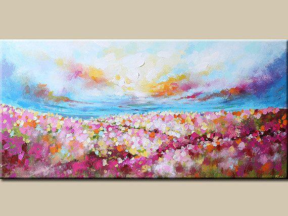 Paisaje pintura pintura abstracta pintura de la flor por artbyoak1