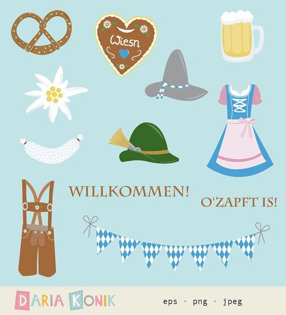 Oktoberfest Clip Art Set-Oktoberfest clipart, pretzel, abito dirndl, cuore di Pan di zenzero, eps, png, jpeg