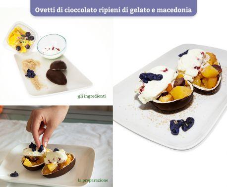 La dolcezza degli ovetti di #cioccolato si fonde alla freschezza del #gelato e della #frutta.  Scopri le #Ricette di Silvia: http://www.dimmidisi.it/it/dimmicomefai/le_ricette_di_silvia/article/ovetti_di_cioccolato_ripieni_di_gelato_e_macedonia.htm - #dimmidisi #ricetta #cucina #dolce #dessert #recipe #cooking #cuisine #icecream #fruit