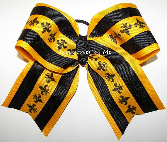 Gold Black Cheer Bow Fluer de lis Ribbon by accessoriesbyme
