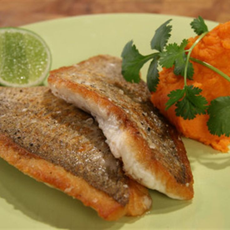 Try this Pan fried Snapper with Sweet Potato Mash recipe by Chef Janella Purcell . This recipe is from the show Good Chef / Bad Chef.