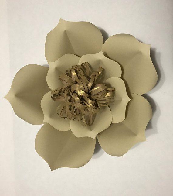 Crema y blanco papel flor telón de fondo, decoración de flores de papel, boda papel flor chica de pared, decoración casera, decoración del sitio