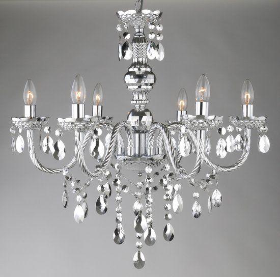 Kroonluchter Globo Cuimbra LED - Compleet verchroomd - Acryldecoratie kristallen 1222