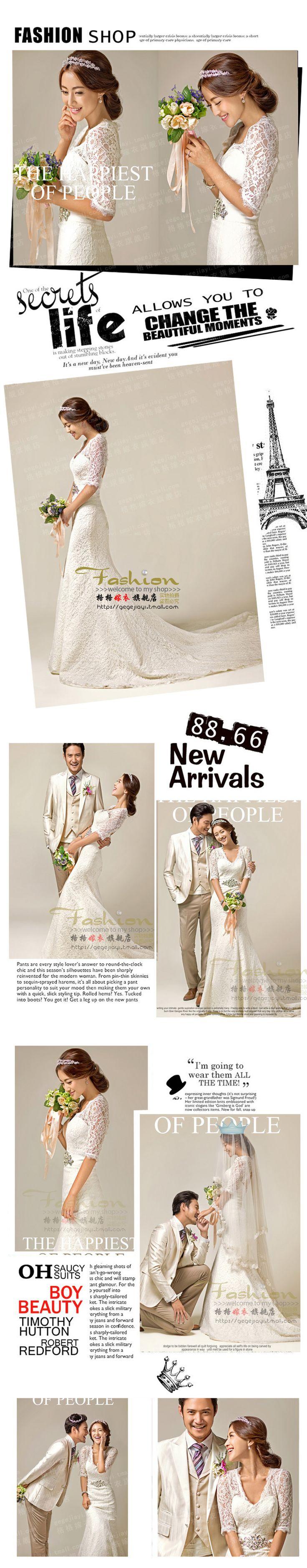Amoy exclusiva romántica profunda V-cuello real de la princesa novia era cola de pez vestido de novia de encaje final delgada $67.22 dolares